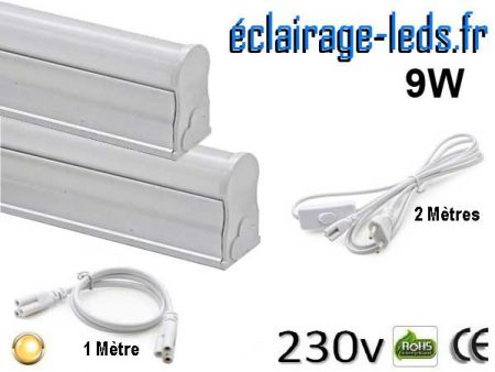 Kit tube LED T5 9W 57cm blanc chaud 230v raccord 1 Mètre