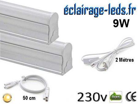 Tubes LED T5 9W 57cm blanc chaud 230v raccord 50cm