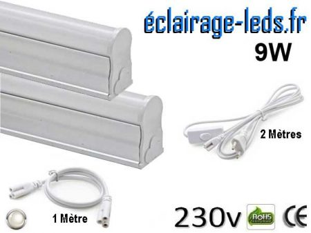 Kit 2 tubes LED T5 9W 57cm blanc naturel