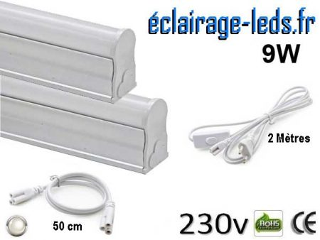 Tubes LED T5 9W 57cm blanc naturel 230v raccord 50cm