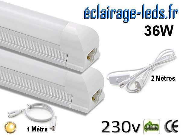 2 tubes LED T8 36W 120 cm blanc chaud 230v raccord 1 mètre
