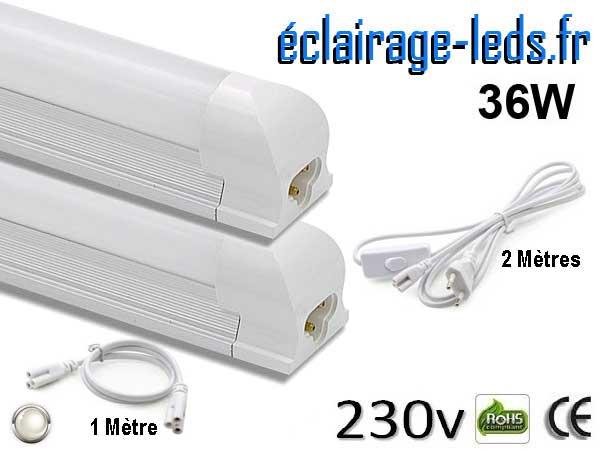 Tubes LED T8 36W 120 cm blanc naturel 230v raccord 1 mètre