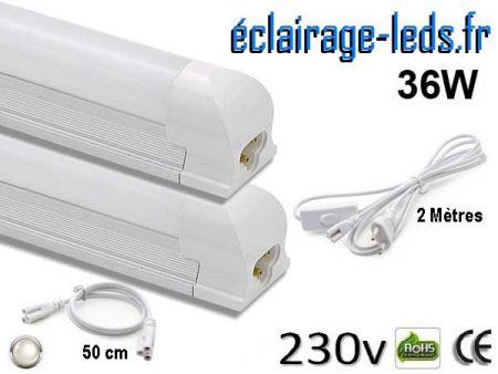 2 tubes LED T8 36W 120 cm blanc naturel 230v
