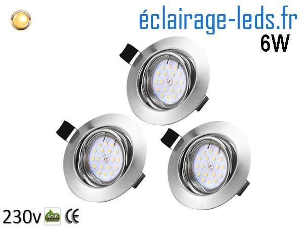 Kit 3 Spots LED GU10 Blanc chaud encastrable chrome