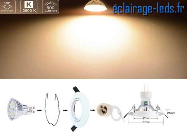 5 Spots LED GU10 Blanc Chaud Orientable ∅ 70mm