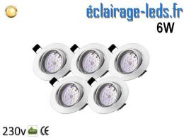 Kit 5 Spots LED GU10 Blanc Chaud encastrable blanc