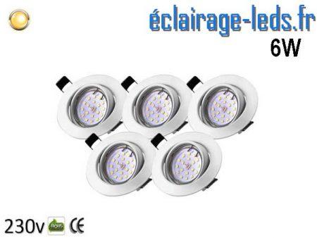 Kit 5 Spots LED GU10 Blanc Chaud encastrable blanc