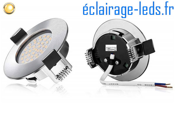 Lot de 10 spots led Encastrable Fixe 5W Ultraslim Blanc Chaud IP44