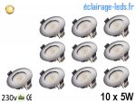 Lot de 10 spots led Encastrable Fixe 5W Ultraslim Blanc Chaud