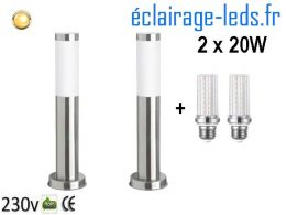 Lot de 2 lampadaires LED 45cm chrome 2 x 20W
