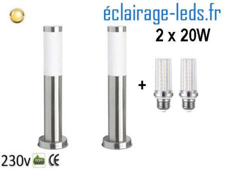 Lot de 2 lampadaires LED 45cm chrome 2 x 20W