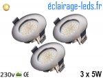 Lot de 3 spots led Encastrable Fixe 5W Ultraslim Blanc Chaud IP44