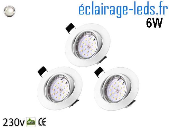 3 Spots LED GU10 Blanc Naturel Orientable ∅ 70mm