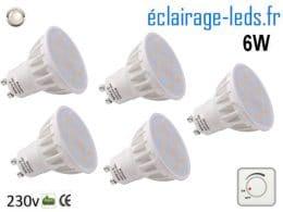 Lot de 5 ampoules led GU10 6W Blanc naturel Dimmable 120°