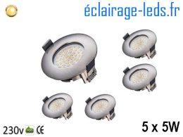 Lot de 5 spots led Encastrable Fixe 5W Ultraslim Blanc Chaud 230V