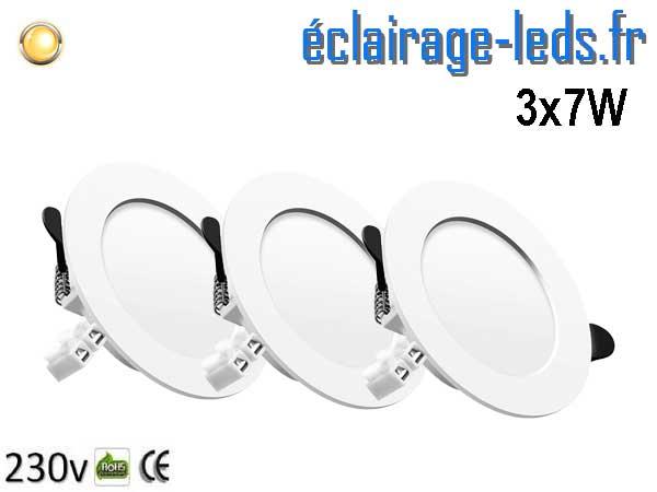 3 Spots LED 7W plat blanc chaud perçage 75-95mm fixation rapide