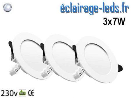 Lot de 3 Spots LED 7W plat blanc froid perçage 75-95mm fixation rapide
