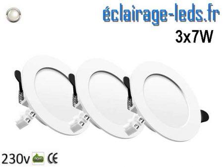 Lot de 3 Spots LED 7W plat blanc naturel perçage 75-95mm fixation rapide