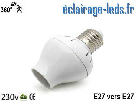 Douille E27 vers E27 détecteur de présence