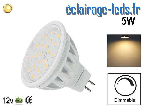 Ampoule LED MR16 5W blanc chaud dimmable 12V
