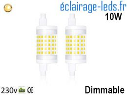 Ampoule led R7S 10w 78mm Blanc Chaud dimmable