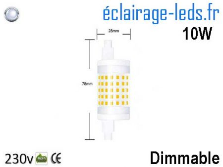Ampoule led R7S 10w dimmable 78mm