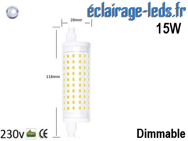 Ampoule led R7S 15w dimmable 118mm