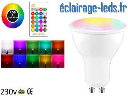 Lot de 10 ampoules LED GU10 8W RGBW