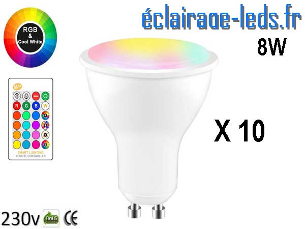 10 ampoules LED GU10 Blanc froid & Couleurs 8W