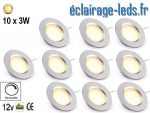 10 spots LED Dimmable 3W encastrable blanc chaud 12V