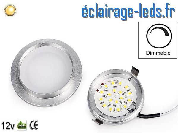 plafonnier LED Dimmable 3W encastrable blanc chaud 12V