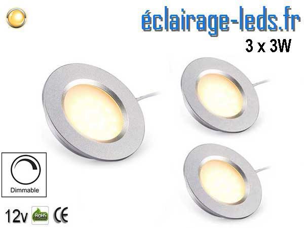 Spots LED Dimmable 3W encastrable blanc chaud 12V