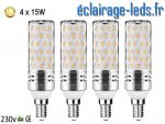 4 Ampoules LED E14 maïs 15W blanc chaud 300K