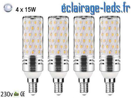 4 Ampoules LED E14 maïs 15W blanc froid 230v