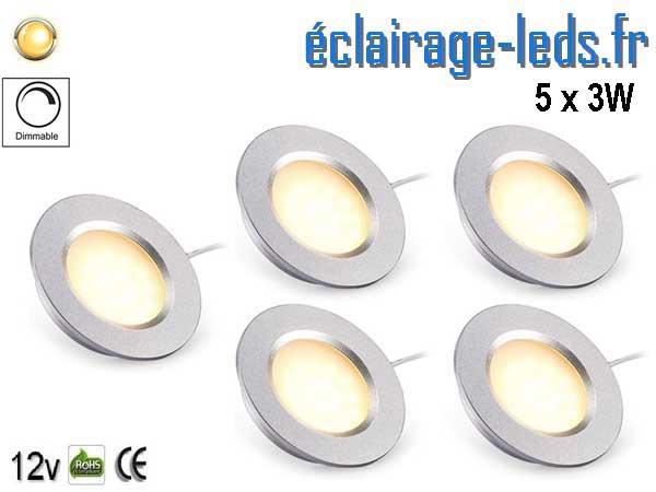 5 spots LED Dimmable 3W encastrable 12v