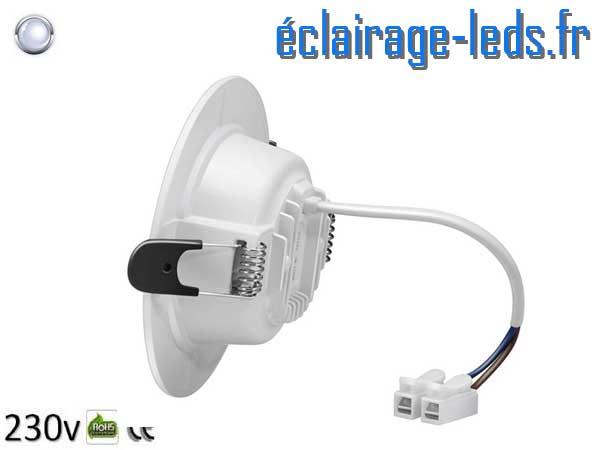 6 Spots LED 7W blanc froid perçage 75-95mm fixation rapide
