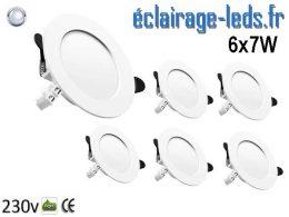 Lot de 6 Spots LED 7W blanc froid perçage 75-95mm
