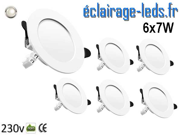 Lot de Spots LED 7W blanc naturel perçage 75-95mm fixation rapide