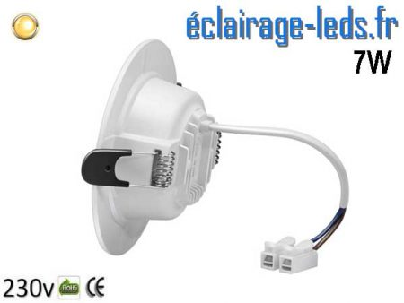 Spot LED 7W plat blanc chaud perçage fixation rapide