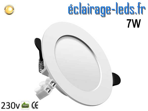 Spot LED 7W plat blanc chaud perçage 75-95mm fixation rapide