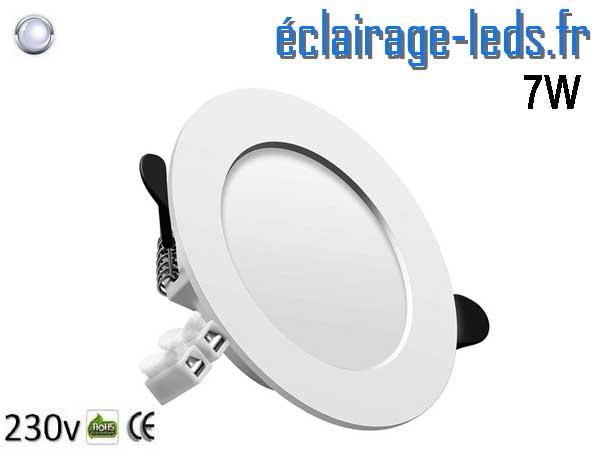 Spot LED 7W plat blanc froid perçage 75-95mm fixation rapide