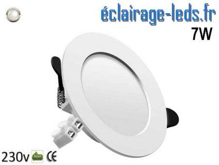 Spot LED 7W plat blanc naturel perçage 75-95mm fixation rapide