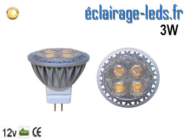 Ampoule led MR11 3W 250lm blanc chaud 30° 12v