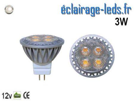 Ampoule led MR11 3W 250lm blanc froid 30° 12v