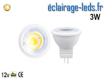 Ampoule led MR11 3W blanc chaud 38° 12v