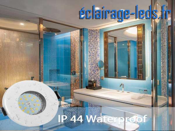 10 Spots LED GU10 étanche spécial salle de bain