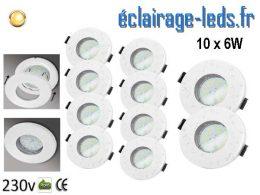 Kit 10 Spots LED GU10 étanche Blanc chaud IP44