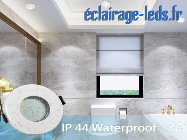 10 Spots LED GU10 étanche pour salle de bain