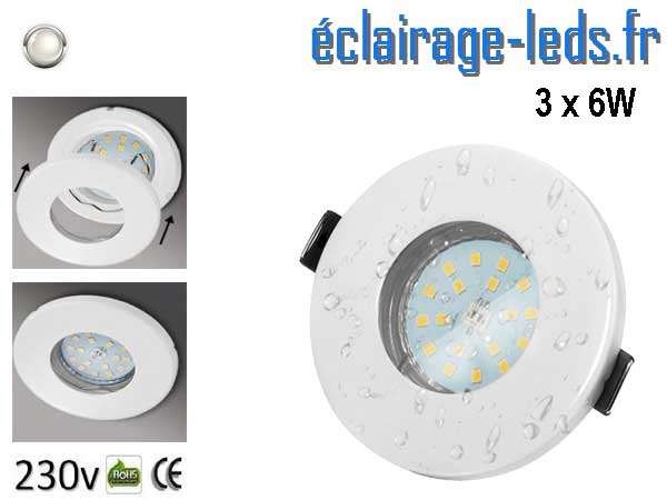 Kit 3 Spots LED GU10 étanche Blanc naturel IP44