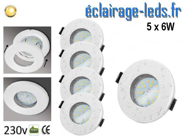 Kit 5 Spots LED GU10 étanche Blanc chaud IP44